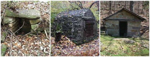 Spring houses used for the storage of ice