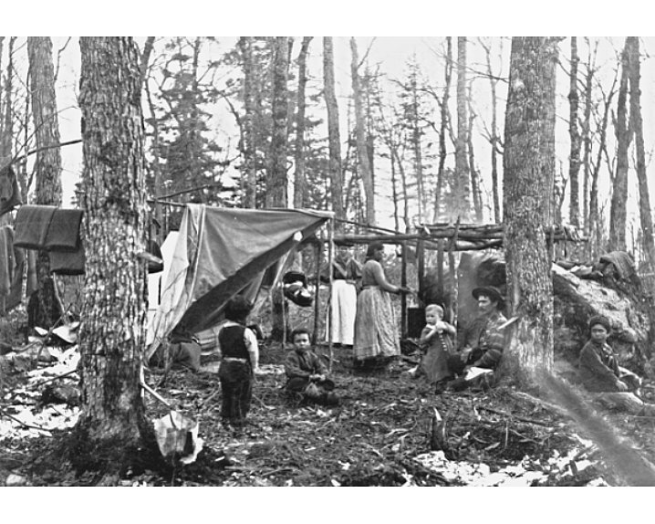 Algonquian sugar camp Credit Harmer, W.M. Collection, National Archives of Canada, C19890