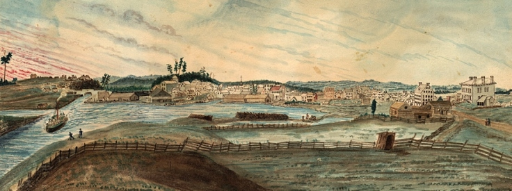 Lower Bytown, from the East Bank of the Deep-cut, Rideau Canal, (also known as Lowertown or Corktown) 1845 Aquarelle Fonds Thomas Burrowes Code de référence : C 1-0-0-0-12 Archives of Ontario