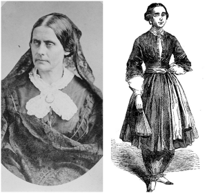Susan B Anthony (photo source: Library of Congress) and Amelia Bloomer (photo source: Illustrated London News -- Image scan and text by Philip V. Allingham)