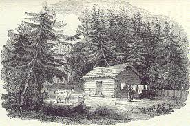 Log house illustration from The Backwoods of Canada by Catharine Parr Traill / Source: National Library of Canada