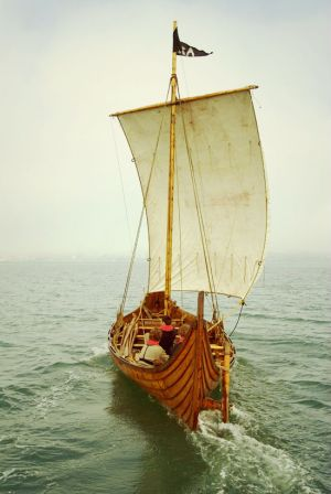 """Tyra"", Viking long ship replica at Hardangerfjord, Norway"