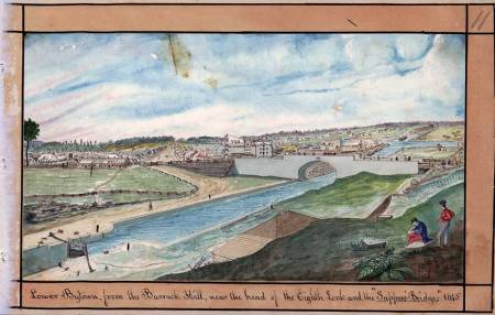 "Lower Bytown, from the Barrack Hill, near the head of the Eighth Lock and the ""Sappers' Bridge,"" 1845 Watercolour Thomas Burrowes fonds Reference Code: C 1-0-0-0-11 Archives of Ontario, I0002129"