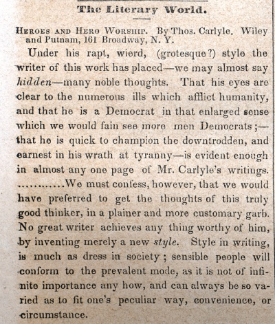 A review by Whitman on October 17, 1846 during his stint as editor of Brooklyn Daily Eagle