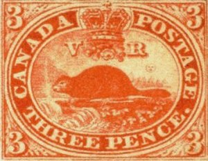 The first Canadian postal stamp, 1851.