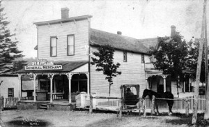 The Cadmus General Store, was operated by J.E. Elliott when this cira 1910 picture was taken. Courtesy Scugog Shores Historical Musuem (Tweedsmuir History)