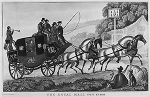 Mail delivery coach in Great Britain, 1837(Hulton Archive/Getty)