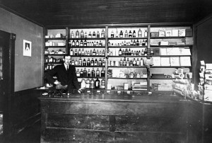 Post office located in a pharmacy Canada location unknown (source: Library and Archive of Canada)