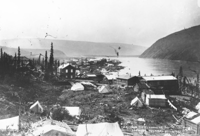 MIKAN 3407463: Dawson City, [Y.T.] looking south, showing Hospital Buildings. [1898-99.].