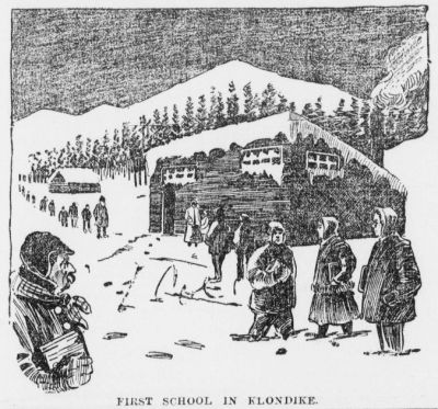 First school in the Klondike. The school was shipped in pieces aboard a steamer as per the design of its teacher, Mrs. L.C.Howland & her husband. Local children were clamouring for instruction. (Source: Pullman Herald 30 Oct. 1897)