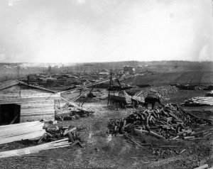Pulp logs at mill in Amos, Quebec, 1922 (Credit: Canadian National Railways/Library and Archives Canada/PA-)