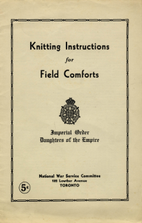 Knitting Instructions socks for troops 1914