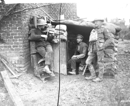 Canadian shares Home Music outside dugout in 1917