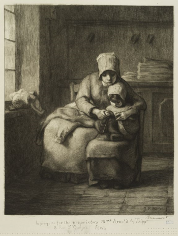 La leçon de tricot, d'après Millet by Jean Francois Millett (Photo source: New York Public Library Digital Collection)