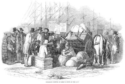 Irish emigrants waiting on the quay