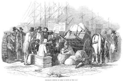 Irish emigrants waiting on the quay