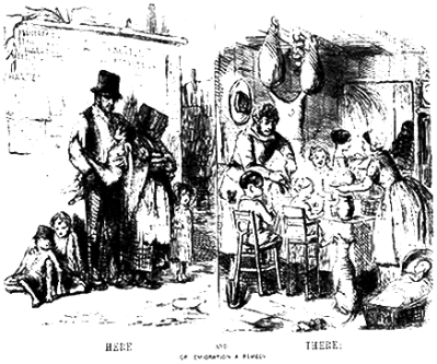 A Punch cartoon commenting on the plight of the Irish , 1840's