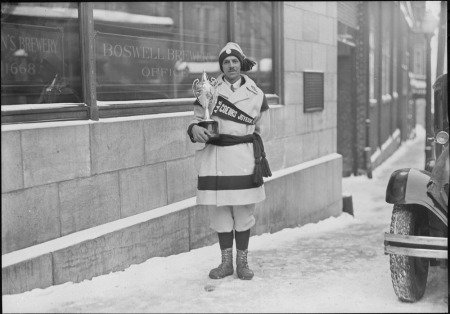 Winner of the cup on the Boswell Brewery (team in the snowshoe races in Quebec) Jan 31, 1931